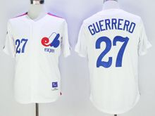 Mens Mlb Montreal Expos #27 Vladimir Guerrero White Throwbacks Jersey