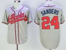 Mens Mlb Atlanta Braves #24 Deion Sanders Gray Throwbacks Jersey