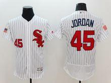 mens majestic chicago white sox #45 michael jordan white stripe fashion stars stripes Flex Base jersey