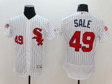 mens majestic chicago white sox #49 chris sale white stripe fashion stars stripes Flex Base jersey