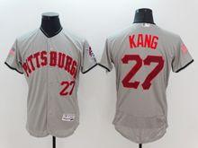 mens majestic pittsburgh pirates #27 jung-ho kang gray fashion stars stripes Flex Base jersey