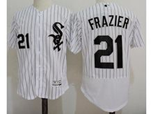 mens majestic chicago white sox #21 todd frazier white stripe Flex Base jersey