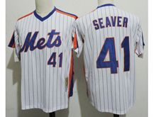 Mens Mlb New York Mets #41 Tom Seaver White Stripe Pullover Throwbacks Jersey