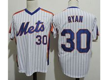 Mens Mlb New York Mets #30 Nolan Ryan White Stripe Pullover Throwbacks Jersey(sn)