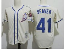 Mens Mlb New York Mets #41 Tom Seaver Cream White Throwbacks Jersey
