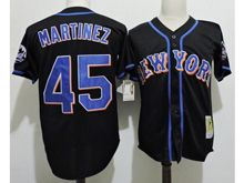 Mens Mlb New York Mets #45 Pedro Martinez Black Throwbacks Jersey(new York)