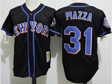 Mens Mlb New York Mets #31 Mike Piazza Black Throwbacks Jersey(new York)