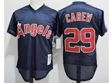 Mens Mlb Los Angeles Angels #29 Rod Carew Dark Blue Mesh Throwbacks Jersey
