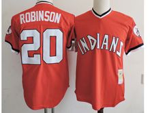 Mens Mlb Cleveland Indians #20 Frank Robinson Red Pullover Throwbacks Jersey(sn)
