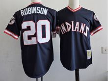 Mens Mlb Cleveland Indians #20 Frank Robinson Black Pullover Throwbacks Jersey(sn)