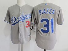 Mens Mlb Los Angeles Dodgers #31 Mike Piazza Gray Throwbacks Jersey(sn)