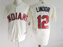 Mens Mlb Cleveland Indians #12 Francisco Lindor Cream Jersey