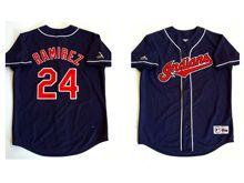 Mens Mlb Cleveland Indians #24 Manny Ramirez Dark Blue Throwbacks Jersey(sn)