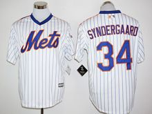 Mens Mlb New York Mets #34 Noah Syndergaard White Stripe (25th Anniversary Fans Version Standard ) Jersey