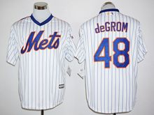 Mens Mlb New York Mets #48 Jacob Degrom White Stripe (25th Anniversary Fans Version Standard ) Jersey
