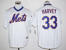 Mens Mlb New York Mets #33 Matt Harvey White Stripe (25th Anniversary Fans Version Standard ) Jersey