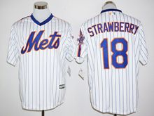 Mens Mlb New York Mets #18 Darryl Strawberry White Stripe (25th Anniversary Fans Version Standard ) Jersey