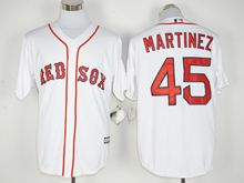 Mens Mlb Boston Red Sox #45 Pedro Martinez White (2016 Hall Of Fame Fans Version Standard) Jersey