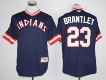 Mens Mlb Cleveland Indians #23 Michael Brantley Navy Blue Pullover 1978 Turn Back Jersey