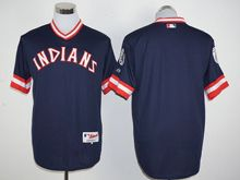 Mens Mlb Cleveland Indians Blank Navy Blue Pullover 1978 Turn Back Jersey