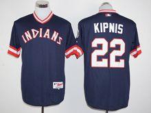 Mens Mlb Cleveland Indians #22 Jason Kipnis Navy Blue Pullover 1978 Turn Back Jersey