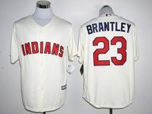Mens Mlb Cleveland Indians #23 Michael Brantley Cream Jersey