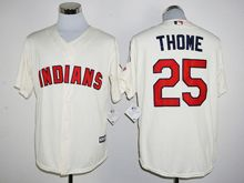 Mens Mlb Cleveland Indians #25 Jim Thome Cream Jersey
