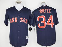 Mens Mlb Boston Red Sox #34 David Ortiz Navy Blue (retirement Standard) Jersey