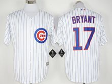 Mens Mlb Chicago Cubs #17 Kris Bryant White Stripe (100th Anniversary Standard) Jersey