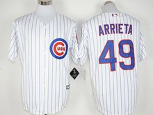 Mens Mlb Chicago Cubs #49 Jake Arrieta White Stripe (100th Anniversary Standard) Jersey