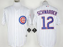 Mens Mlb Chicago Cubs #12 Kyle Schwarber White Stripe (100th Anniversary Standard) Jersey