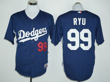 Mens Mlb Los Angeles Dodgers #99 Hyun-jin Ryu Navy Blue Player Jersey