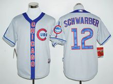 Mens Mlb Chicago Cubs #12 Kyle Schwarber Gray Jersey(new)