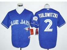 Mens Mlb Toronto Blue Jays #2 Troy Tulowitzki Blue (40th Anniversary Players Edition Standard) Jersey