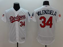 mens majestic los angeles dodgers #34 fernando valenzuela white fashion stars stripes Flex Base jersey
