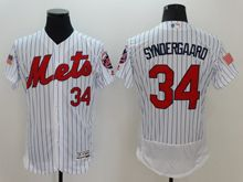 mens majestic new york mets #34 noah syndergaard white stripe fashion stars stripes Flex Base jersey
