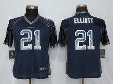 Women  Nfl Dallas Cowboys #21 Ezekiel Elliott Blue Drift Fashion Elite Jerseys