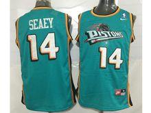Mens Nba Detroit Pistons #14 Seaey Green Mesh Jersey