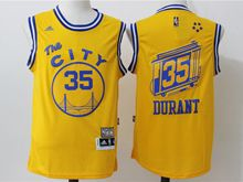 Mens Adidas Golden State Warriors #35 Kevin Durant Yellow Hardwood Classics Swingman Jersey
