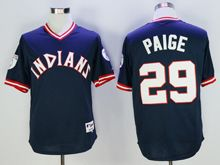 Mens Mlb Cleveland Indians #29 Satchel Paige Navy Blue Pullover Throwbacks Jersey