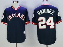 Mens Mlb Cleveland Indians #24 Manny Ramirez Navy Blue Pullover Throwbacks Jersey(sn)