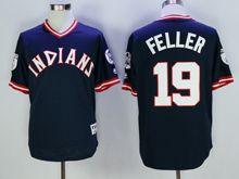 Mens Mlb Cleveland Indians #19 Bob Feller Navy Blue Pullover Throwbacks Jersey