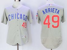 mens majestic chicago cubs #49 jake arrieta gray Flex Base jersey(old)