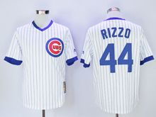 Mens Mlb Chicago Cubs #44 Anthony Rizzo White Stripe Pullover Throwbacks Jersey