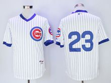 Mens Mlb Chicago Cubs #23 Ryne Sandberg White Stripe Pullover Throwbacks Jersey(no Name)