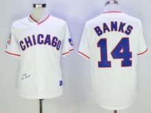 Mens Mlb Chicago Cubs #14 Ernie Banks White Korean Throwbacks Jersey