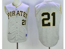 Mens Mlb Pittsburgh Pirates #21 Roberto Clemente Heather Gray Throwbacks Jersey