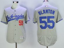 mens majestic los angeles dodgers #55 joe blanton gray throwbacks Flex Base jersey