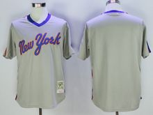 Mens Mlb New York Mets Blank Gray Pullover Throwbacks Jersey
