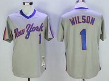 Mens Mlb New York Mets #1 Mookie Wilson Gray Pullover Throwbacks Jersey